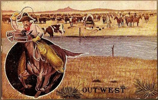 Vintage Post Card Western Art Cowboy, Horse, Lasso and Cattle