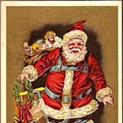 REDUCED Vintage Post Card Christmas Greetings Santa in Red with Sleigh, Toys and Doll