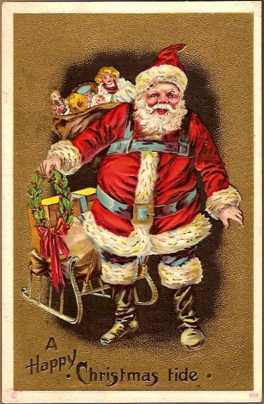 Vintage Post Card Christmas Greetings Santa in Red with Sleigh, Toys and Doll