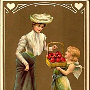 REDUCED Vintage Post Card EAS Valentine Greetings Edwardian Lady with Cherub
