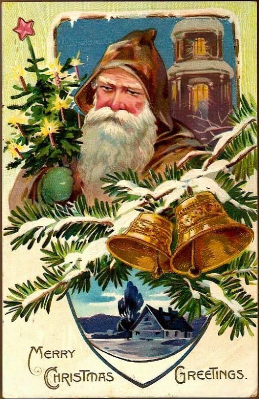 Vintage Post Card Tucks Santa in Brown with Tree and Bells