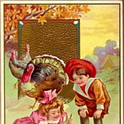 Vintage Post Card Thanksgiving Greetings Edwardian Children with Turkey, Chicks and Pumpkin
