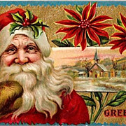 Vintage Post Card Christmas Greetings Santa with Holly and Church Scene