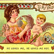 REDUCED Vintage Post Card Valentine Greetings Lady with Cupid and Hearts