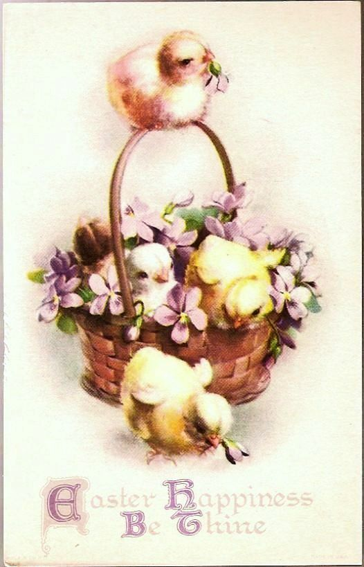 Vintage Post Card Easter Chicks with Basket of Violets
