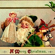 REDUCED Vintage Post Card Artist Signed Christmas Greetings Santa with Doll and Toys