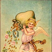 REDUCED Vintage Post Card New Year Greetings Cherub with Coins and Roses