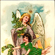 REDUCED Vintage Post Card Christmas Greetings Angels in Clouds