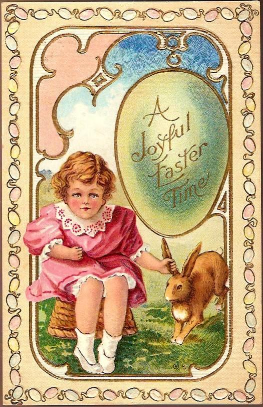 Vintage Post Card Easter Greetings Girl in Pink with Rabbit