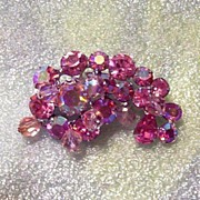 WEISS Signed Pink Rhinestone Brooch with Crystal Beads