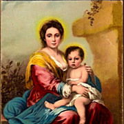 REDUCED Vintage Post Card Religious Art Madonna with Baby Jesus