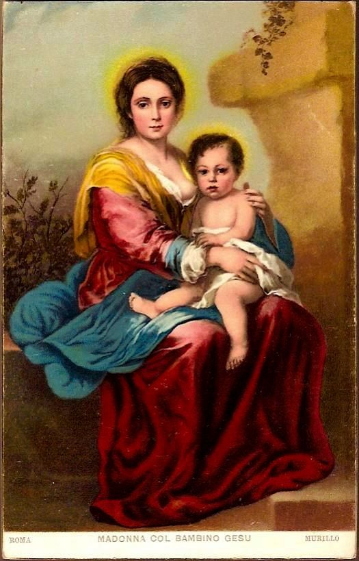 Vintage Post Card Religious Art Madonna with Baby Jesus