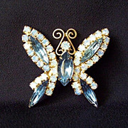 REDUCED Vintage Brooch Blue and AB Rhinestone Butterfly