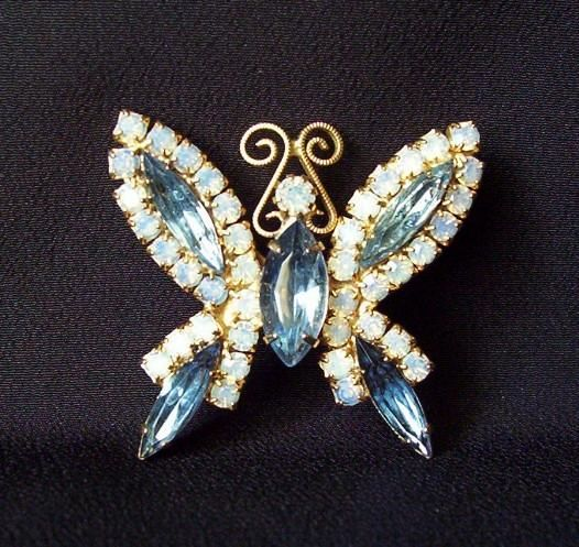 Vintage Brooch Blue and AB Rhinestone Butterfly