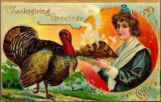 Vintage Post Card Thanksgiving Greetings Patriotic Lady with Turkey
