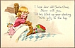 Vintage Post Card Christmas Greetings Girl with Toys and Doll
