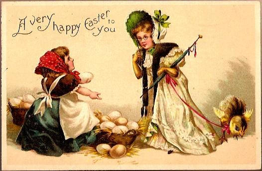 Vintage Post Card Easter Greetings Ladies with Chicks and Eggs