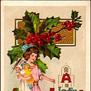 REDUCED Vintage Post Card Christmas Greetings Girl with Doll and Dog