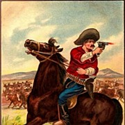Vintage Post Card Western Art Cowboy with Horse, Pistol and Cattle