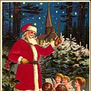 Vintage Post Card Christmas Greetings Silk Robe Santa with Cherubs