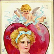 REDUCED Vintage Post Card Valentine Greetings Lady in Heart Cameo with Cherub