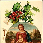 SOLD Vintage Post Card Christmas Greetings Madonna with Christ and Angels