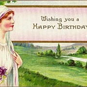REDUCED Vintage Post Card Birthday Greetings Lady with Violets