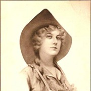 REDUCED Vintage Post Card Artist Signed Cowgirl in Hat with Braids