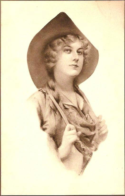 Vintage Post Card Artist Signed Cowgirl in Hat with Braids