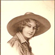 REDUCED Vintage Post Card Artist Signed Western Cowgirl in Hat