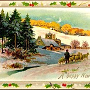 Vintage Post Card Tucks New Year Greetings Child with Sheep