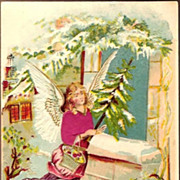 REDUCED Vintage Post Card Silk Christmas Greetings Angel with Feather Tree