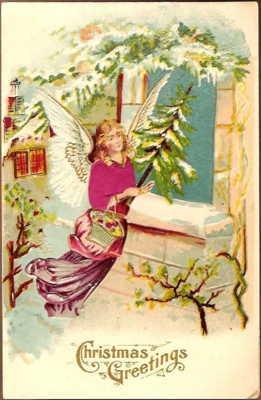 Vintage Post Card Silk Christmas Greetings Angel with Feather Tree