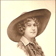 REDUCED Vintage Post Card Artist Signed Western Cowgirl in Hat with Braids