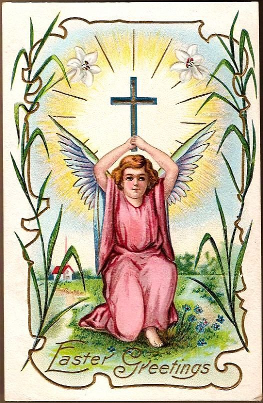 Vintage Post Card Easter Greetings Angel with Cross