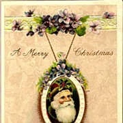 REDUCED Vintage Post Card Winsch Christmas Greetings Santa with Violets and Holly