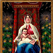 REDUCED Vintage Post Card Christmas Greetings Madonna with The Christ Child