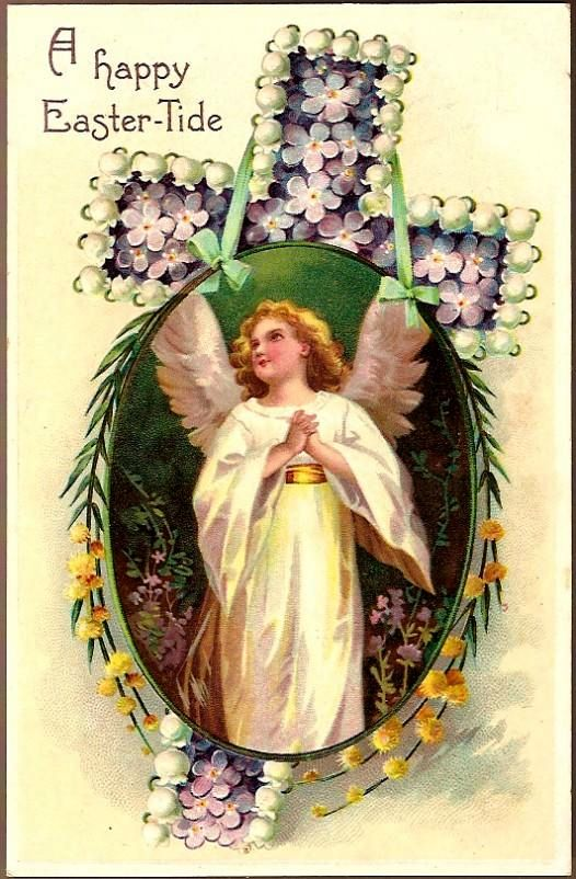 Vintage Post Card Easter Greetings Angel with Flowers