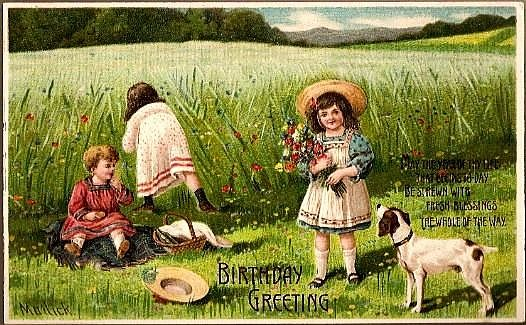 Vintage Post Card Artist Signed Birthday Greetings Children, Hats and Dog
