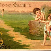 REDUCED Vintage Post Card Valentine Greetings Cupids and Sunflowers
