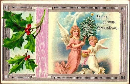 Vintage Post Card Christmas Greetings Angels,Tree and Star
