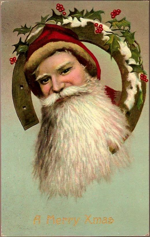 Vintage Post Card Christmas Greetings Santa with Horseshoe and Holly
