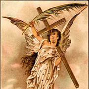 REDUCED Vintage Post Card Easter Greetings Angel and Cross