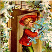 REDUCED Vintage Post Card Christmas Greetings Boy in Red with Forget-me-nots