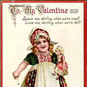 Vintage Post Card Tucks Valentine Greeting Dutch Girl and Doll
