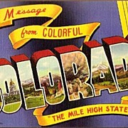 Vintage Post Card Large Letter Greeting Colorado
