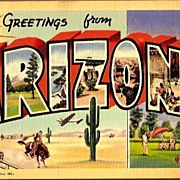 Vintage Post Card Western Art Large Letter Greetings from Arizona