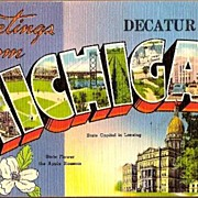 Vintage Post Card Large Letter Greetings from Decatur, Michigan