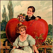 REDUCED Vintage Post Card Valentine Greetings Lady and Man with Heart and Roses