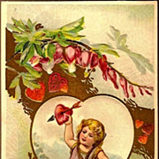Vintage Post Card Valentine Greetings Cupid, Spiderweb and Bleeding Heart Flowers
